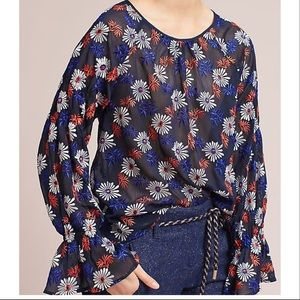 Anthropologie Ella Moss Floral Sheer Blouse Daisy